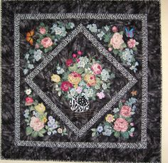 My first broderie perse quilt Night Flowers