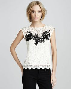 love the top. Nanette Lepore Sequined Bomber Jacket & Good Fortune Embroidered Lace Top - Bergdorf Goodman