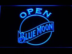 Blue Moon Beer Open Bar Led Neon Sign Man Cave 052-B
