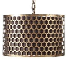 Materials: Metal & Linen Finish: Antique Gold & Parchment Chain length: Antique gold pendant light adds just the right amount of dramatic effect. The patterned metal is laid over a parchment drum shade pendant. Drum Pendant, Drum Chandelier, Pendant Lighting, Chandeliers, Gold Pendant, Luz Natural, Gold Ceiling Light, Ceiling Lights, Modern Ceiling