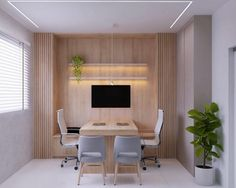 """Gabriela Guenther no Instagram: """"Mais um office super charmoso pra inspirar um ano novo cheio de trabalho. Projeto: @barbaragfernandes.arq render: @studio.bm_"""" Instagram"""