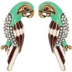 Marc Jacobs Charms Tropical Parrot Studs Big Earrings (Green Multi)... ($85) ❤ liked on Polyvore featuring jewelry, earrings, charm earrings, druzy jewelry, green stud earrings, marc jacobs jewellery and earring charms