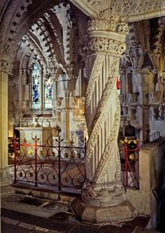 The incredibly decorated Rosslyn Chapel, Scotland, Outside Edinburgh The Places Youll Go, Places To See, Beautiful Buildings, Beautiful Places, Rosslyn Chapel, Scotland Travel, Edinburgh Scotland, Scotland Uk, Scotland Trip