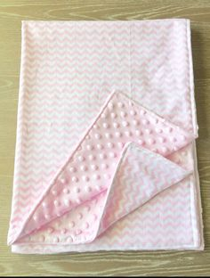 New Chevron Print Minky Baby Blanket. ALL MINKY BLANKETS CAN BE MADE WITH DIFFERENT COLOR MINKY UPON REQUEST! This minky is a baby pink. This