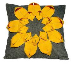 Recycled Felt Pillow  Origami Sunflower Applique by FeltloveCymru