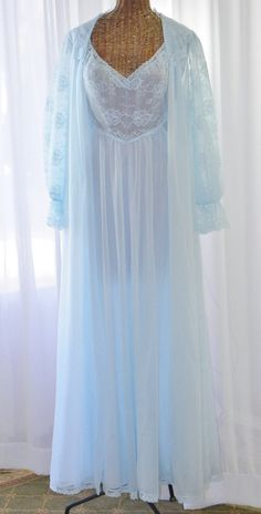 Vintage Chiffon Peignoir Robe Nightgown by Voilavintagelingerie