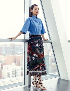 Go here for Shin Min Ah's previously released spreads from the February issue of Harper's Bazaar Korea and here for Jaejoong's. Shin Min Ah Jaejoong &n… Korean Celebrities, Korean Actresses, Harpers Bazaar, Valentino Garavani, Traditional Dresses, Cute Fashion, American Apparel, Korean Fashion, High Waisted Skirt