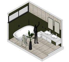 Bathroom 08 on Behance Architecture, Double Vanity, Presentation, Bathtub, Behance, Diagram, Graphics, Bathroom, Program Management
