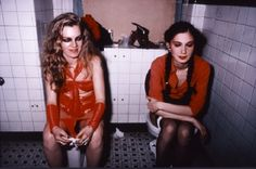 Cookie and Millie in the girls room at the Mudd club NYC 1979
