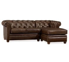 Chesterfield Leather 2-Piece Sectional with Chaise | Pottery Barn