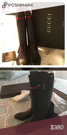 AUTHENTIC Never Worn Gucci riding boots Beautiful never worn classic Gucci boot. Made for wider calf and can be worn as a low boot. My legs are skinny so I am sad to have to sell. Includes receipt and  all proof of authentication. Gucci Shoes Ankle Boots & Booties