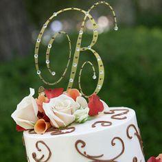 Wedding Cake with Rhinestone Monogram - Our editors serve up the hottest ideas in wedding style - Wedding Cake