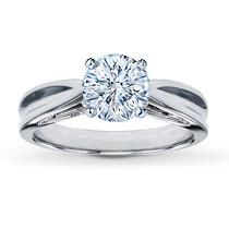 Jared 14K White Gold Solitaire Ring Setting. Head in this solitaire ring setting is ready to be set with the diamond of your choice. Styled in 14K white gold with subtle tapering toward the middle. Choose your own diamond (size and cut).