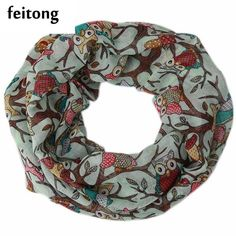 eabcc1ffaca FEITONG Ring Scarf Women Fashion Ladies Sacrves Voile Bow Cat Printed  Pattern Silk Scarf Echarpes Foulards