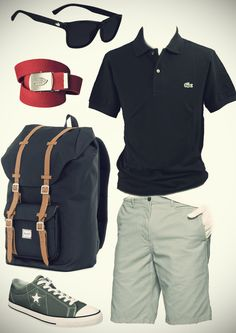 Lacoste navy polo / light blue shorts / red belt / stuff the bag and trainers