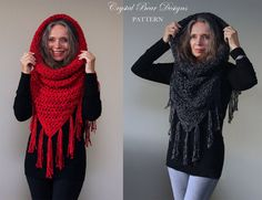 Hooded Cowl Crochet PATTERN / Hooded Scarf by CrystalBearDesigns