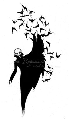 A vampire dissolves into a swarm of bats.
