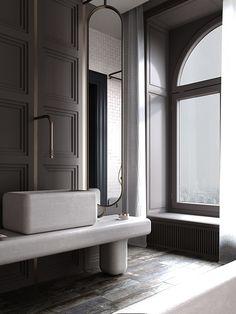 Interior Architecture, Interior Design, Laundry In Bathroom, Townhouse, Dark, Basins, Faucets, 3ds Max, Furniture