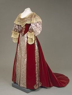 Dress of of Empress Maria Fyodorovna, House of Worth (Paris, France): ca. 1880's, puffed sleeves, highly repetitive patterned lace, velvet. Rose would use something similar.