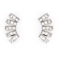 Ca&Lou Glass Multiple Cuff Earrings ($280) ❤ liked on Polyvore featuring jewelry, earrings, metallic, metallic jewelry, glass earrings, silver tone earrings, ca&lou and glass jewelry