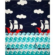 Michael Miller Ahoy Matey Making Waves Single Border Navy - to use on bottom of duvet covers and bottom of curtains,