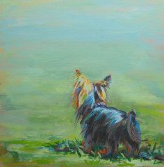 Best Sellers - Yorkie Puppies Art - Yorkie in the Grass by Kimberly Santini