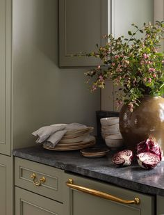 Home Tour Kitchen countertop + Olive green cabinets + black marble countertop + vintage dishware + b Cottage Tudor, Style Cottage, English Cottage Style, Tudor House, English Cottages, Layout Design, Küchen Design, House Design, Garden Design