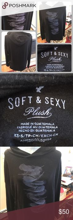 Like New American Eagle Soft & Sexy Plush T Shirt Like new American Eagle black long sleeve hooded soft & sexy plush tee shirt.  Size extra small.  Light gray feathers on the front.  No trades.  Will price drop. American Eagle Outfitters Tops Tees - Long Sleeve