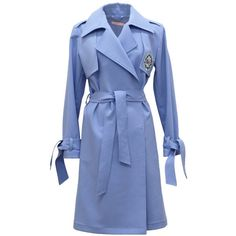 Tomcsanyi - Embroidered Trench Coat Blue ($495) ❤ liked on Polyvore featuring outerwear, coats, embroidered coats, blue trenchcoat, blue coat, leather-sleeve coats and leather-sleeve trench coats