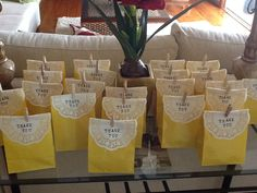 Bridal shower favours - use coral/pink or aqua bags