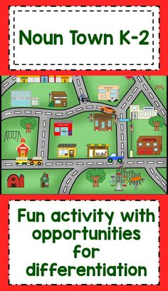 Noun Town K-2 A fun activity to review nouns before vacation or at the end of the year! Kids match images to words and place on blank map. Opportunities for differentiation and supplementary activities. Beginning Reading, Guided Reading, Teaching Reading, Teaching Map Skills, Teaching Nouns, Teaching Ideas, Learning, Kindergarten Activities, Fun Activities