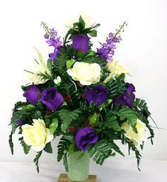 Father's Day Cemetery Vase Flower Arrangement Featuring Purple And White Roses #Crazyboutdeco