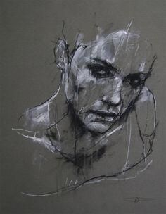 Artist: Guy Denning, charcoal and chalk {contemporary female head sketch woman face portrait drawing} <3 Despair??!!