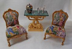 Dolls House Miniature Ladies Set JiaYi Antique Petit Point Pair Of Matching  Ladies Bedroom Chairs