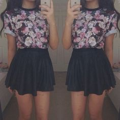 t-shirt top floral skater skirt black pink skirt shirt blouse dress cute black skirt purple blue