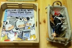This link goes to a weird site but the story basket idea for Click Clack moo, Cows that type- on our 100 Stories Before School booklist, is great!