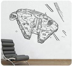 Star Wars Millenium Falcon Wall Decal Sticker Movie Sci Fi Decor Home Art Design Quote CHOOSE COLOR