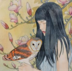 Whispers in the Grove by Mary Alayne Thomas presented by Lotton Gallery Cool Paintings, Original Paintings, Artwork Display, Owl Art, Pottery Studio, Mixed Media Painting, Painting Inspiration, Art Forms, Capes