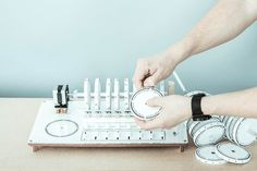 Axel Bluhme's drum machine triggers sounds using rotating discs of magnets.