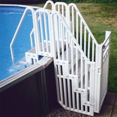 pool ground above steps pools confer entry swimming system gate double diy stairs ladders step decks put staircase backyard together