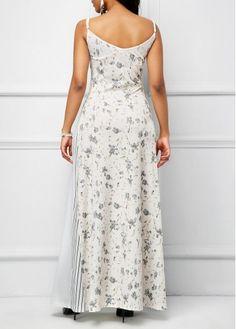 Printed Spaghetti Strap White Maxi Dress | Rosewe.com - USD $35.76