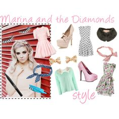 Marina and the Diamonds Style. I made this set inspired by the 50's-glam, pastel, girly style of Marina Diamandis, also known as Marina and the Diamonds. :)