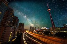 Toronto Skyline - Milky way over the Gardiner - http://www.flickr.com/photos/jimu/7399001750/in/pool-26909951@N00/