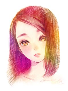 multi coloured anime girl- I really want to draw her.