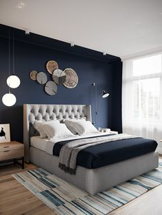 home bedroom ideas / home bedroom . home bedroom master . home bedroom cozy . home bedroom small . home bedroom modern . home bedroom ideas . home bedroom romantic . home bedroom indian Home Decor Bedroom, Light Blue Bedroom, Navy Accent Walls, Bedroom Inspirations, Navy Blue Bedrooms, Apartment Decor, Modern Bedroom, Main Bedroom, Blue Bedroom Design