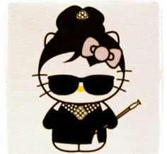Hello Kitty As Audrey Hepburn. By Plasticgod. this is all the things ever . its imperative I own this! Hello Kitty Tattoos, Hello Kitty Art, Hello Kitty Pictures, Here Kitty Kitty, Hello Kitty Birthday, Hello Kitty Characters, Sanrio Characters, Hello Kitty Wallpaper, Hello Kitty Collection