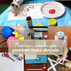 10 sugestões de materiais simples e divertidos para brincar nas férias das crianças de um jeito diferente.