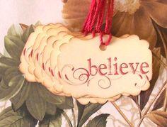 Tags Christmas Gift Tags Favor Vintage Style Handmade Believe TC031. $4.00, via Etsy.