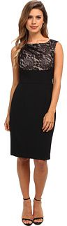 Adrianna Papell Empire Lace Top Sheath Dress