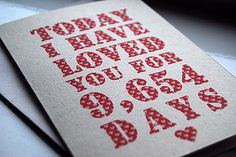 Today I have loved you for ....... days! A card for the groom on the wedding day!!